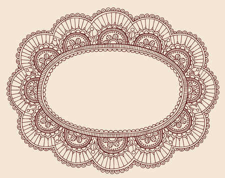 Hand-Drawn Lace Doilie HennaMehndi Paisley Doodle Vector Illustration Frame Border Design Element Illustration