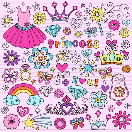 embellishments: Hand-Drawn Princess Notebook Doodle Design Elements Set on Pink Lined Sketchbook Paper Background