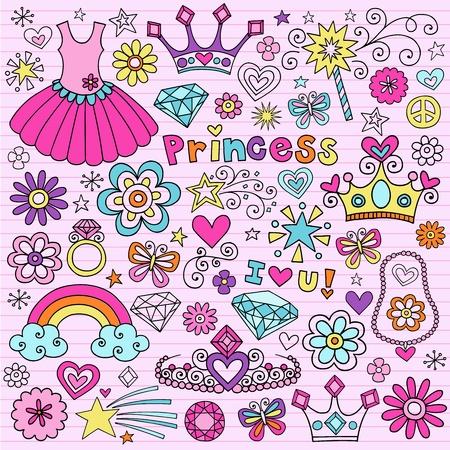 Hand-Drawn Princess Notebook Doodle Design Elements Set on Pink Lined Sketchbook Paper Background