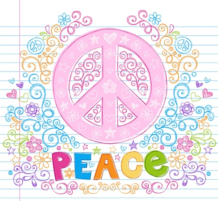 Hand-Drawn Peace Sign Sketchy Doodles with Lettering, Stars, Hearts, and Flowers- Design Elements on Lined Notebook Paper Background- Vector Illustration