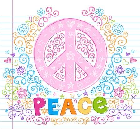 the peace: Mano paz signo incompletos Doodles con letras, estrellas, corazones y flores - dise�o elementos en ilustraci�n forrado port�til papel Fondo - Vector