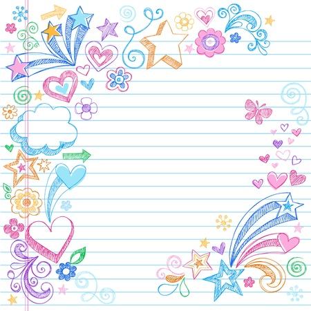 星、心、罫線ノート紙背景ベクトル イラスト上の花のデザイン要素と手描きスケッチいたずら書き