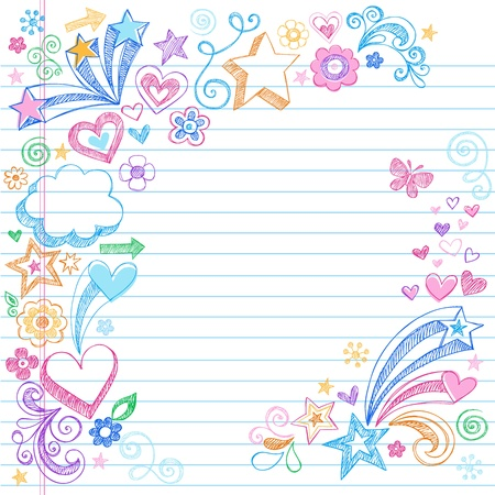 Hand-Drawn Sketchy Doodles with Stars, Hearts, and Flowers- Design Elements on Lined Notebook Paper Background- Vector Illustration  Stock Vector - 9345478
