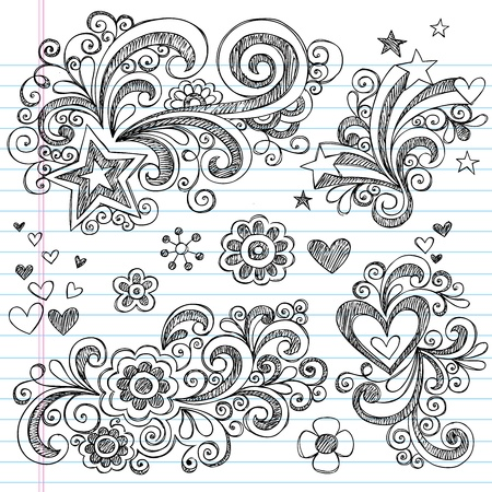 Hand-Drawn Back to School Sketchy Notebook Doodle Design Elements with Swirls, Flowers, Hearts and Stars