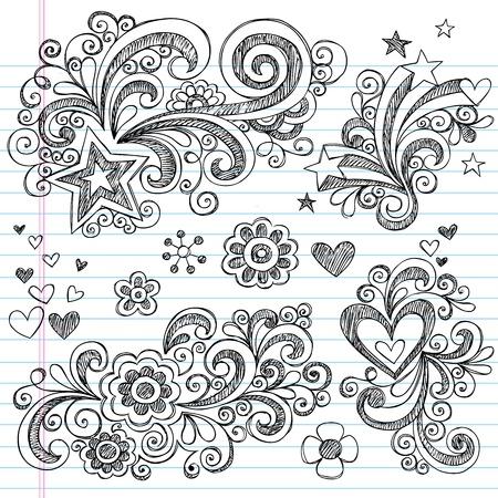 Mano volver a la escuela portátil incompletos Doodle elementos de diseño con remolinos, flores, corazones y estrellas