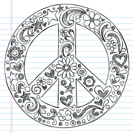 Hand-Drawn Sketchy Peace Sign Doodle with Flowers, Hearts, and Stars on Lined Notebook Paper Background