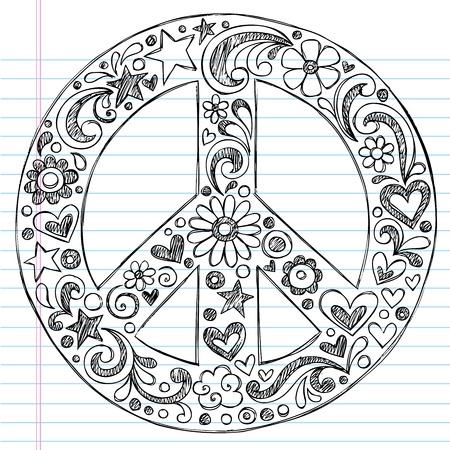 simbolo de la paz: Mano incompleta signo de paz Doodle con flores, corazones y estrellas en el fondo de papel de cuaderno rayado Vectores