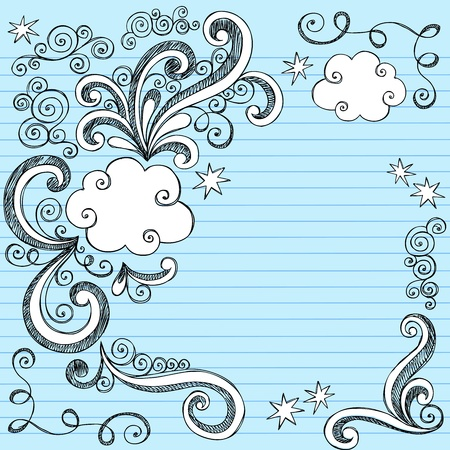 Hand-Drawn Sketchy Clouds and Swirls Notebook Doodles- Design Elements on Lined Paper Background Vector