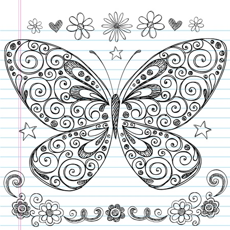 Hand-Drawn Butterfly Sketchy Notebook Doodle Design Elements with Swirls and Flowers