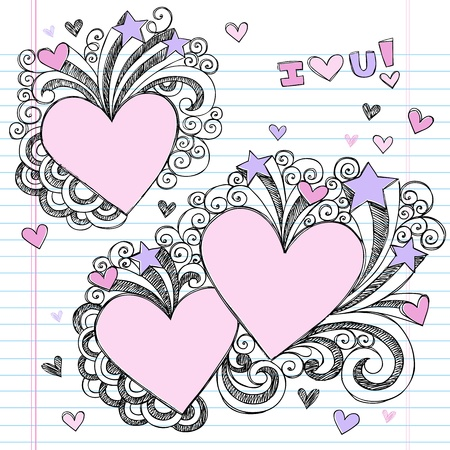 notebook paper background: Hand-Drawn Valentine Hearts Sketchy Notebook Doodles with Swirls- Vector Illustration Design Elements on Lined Sketchbook Paper Background Illustration