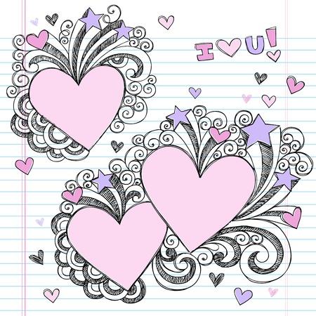 Hand-Drawn Valentine Hearts Sketchy Notebook Doodles with Swirls- Vector Illustration Design Elements on Lined Sketchbook Paper Background Ilustração