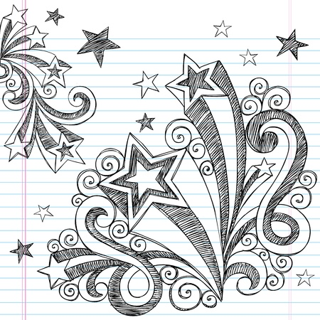 scribble: Hand-Drawn Back to School Starbursts and Stars Sketchy Notebook Doodles Vector Illustration Design Elements on Lined Sketchbook Paper Background