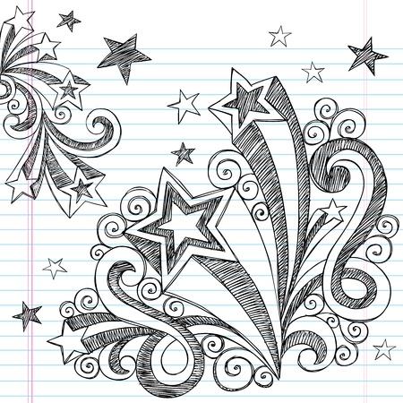 bocetos de personas: Mano volver a escuela placental y estrellas incompletos port�til garabatos Vector ilustraci�n elementos de dise�o de fondo de papel rayado Sketchbook Vectores