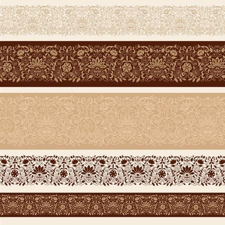 bordes decorativos: Henna Mehndi frontera diseños con flores y enredaderas mano. Vectores