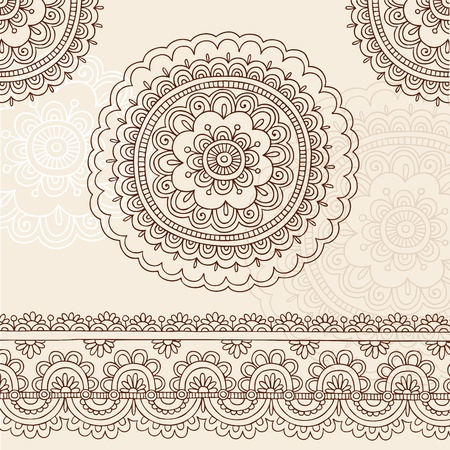 Henna Mehndi Tattoo Flower Mandala and Paisley Hand. Vector