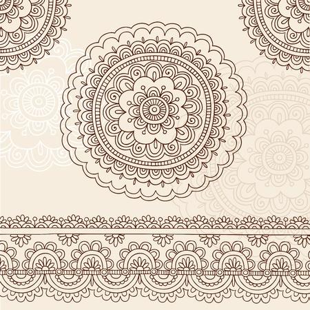 henna design: Henna Mehndi tatuaje flor Mandala y mano de Paisley.