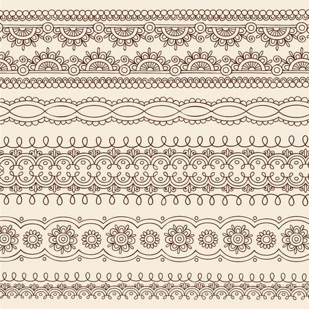 henna design: Henna Mehndi tatuaje flor y Paisley frontera Doodle mano Vectores