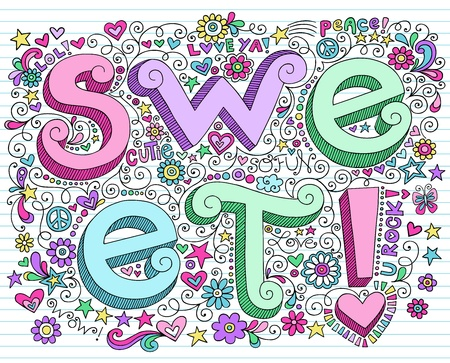 teenagers love: Hand-Drawn 3D SWEET Valentines Lettering Psychedelic Groovy Notebook Doodle Design Elements on Lined Sketchbook Paper Background- Vector Illustration Illustration