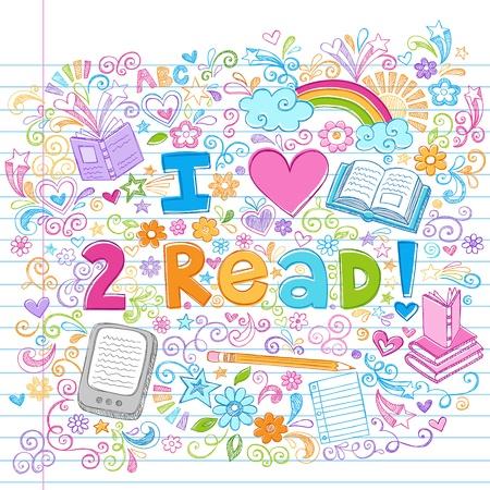 Ik kijk graag naar Boeken en e-books met de hand getekende Sketchy Notebook Doodles op Gevoerde Schetsboek papier achtergrond-Doodle Ontwerp Elementen Illustratie Lees