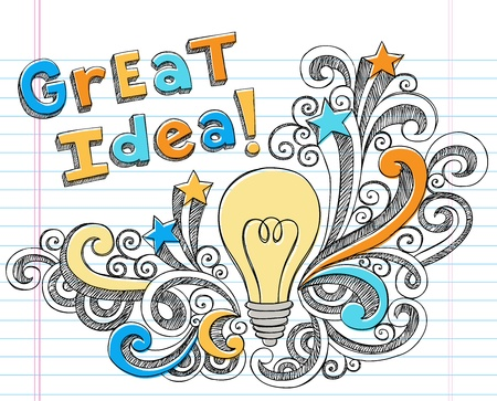 lightbulb idea: Lettering grande Idea con Lightbulb disegnate a mano Torna Starbursts Scuola e Swirls Sketchy Doodles Notebook Illustrazione Design Elements su sfondo foderato di carta Sketchbook
