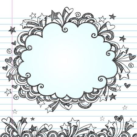 Cloud Frame Sketchy Doodle- Hand-Drawn Notebook Doodles Design Elements on Lined Sketchbook Paper Background. Stock Vector - 10598808