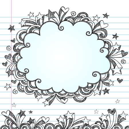 edge design: Cloud Frame Sketchy Doodle- Hand-Drawn Notebook Doodles Design Elements on Lined Sketchbook Paper Background. Illustration