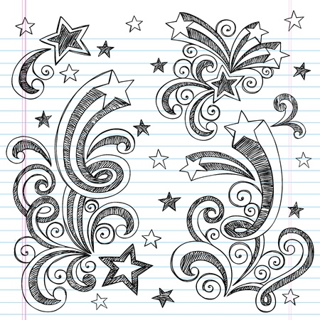 notebook paper background: Hand-Drawn Back to School Starbursts, Swirls, Hearts, and Stars Sketchy Notebook Doodles Illustration Design Elements on Lined Sketchbook Paper Background