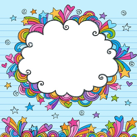 Cloud Rainbow Colored Frame Sketchy Doodle- Hand-Drawn Notebook Doodles Design Elements on Lined Sketchbook Paper Background Vector