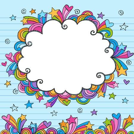 Cloud Rainbow Colored Frame Sketchy Doodle- Hand-Drawn Notebook Doodles Design Elements on Lined Sketchbook Paper Background Illustration