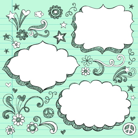 Sketchy 3-D Shaped Ornate Comic Book Style Speech Bubble Frames- Hand Drawn Notebook Doodles Design Elements on Lined Paper Background Vector