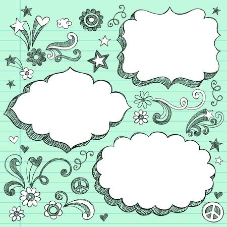 Sketchy 3-D Shaped Sierlijke Comic Book Style Speech Bubble Frames-Hand Drawn Notebook Doodles Ontwerp Elementen op gelinieerd papier Achtergrond