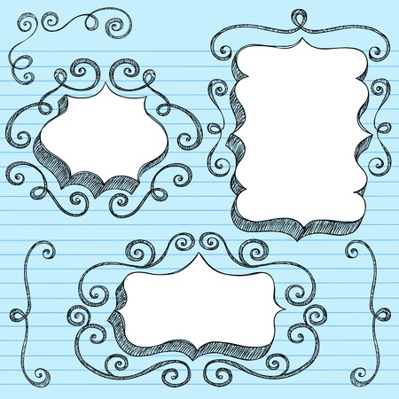 scroll border: Sketchy Doodle 3-D Shaped Ornate Comic Book Style Speech Bubble Frames with Swirls Edge Design- Back to School Notebook Doodles on Blue Lined Paper Background