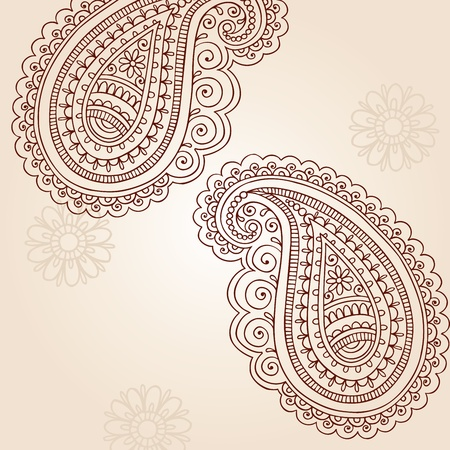 Henna Mehndi Paisley Hand-Drawn Abstract Doodle Vector Illustration Design Elements  Vector