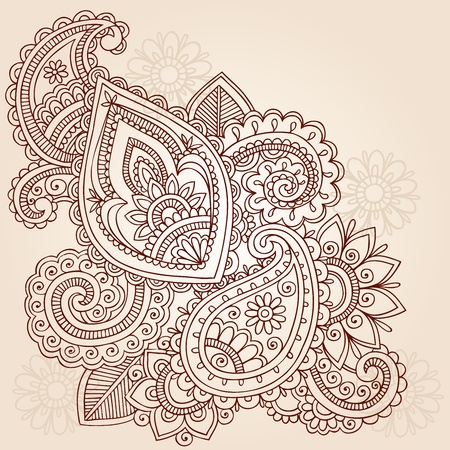 Abstract Henna Mehndi Paisley Hand-Drawn Doodle Vector Illustration Design Elements