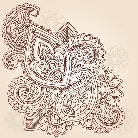 henna design: Resumen de henna Mehndi Paisley dibujado a mano Elementos de dise�o vectorial Doodle Ilustraci�n