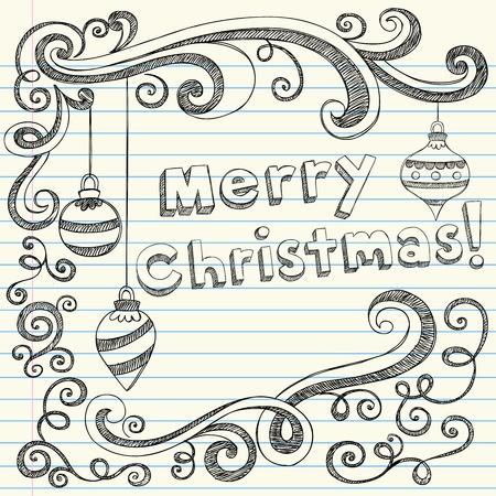 メリー クリスマス レタリング & 装飾品大ざっぱなノートの落書き-休日ベクトル イラスト デザイン要素並ぶスケッチ ブックに紙の背景
