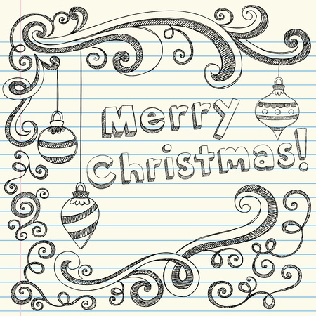 Merry Christmas Lettering & Ornaments Sketchy Notebook Doodles- Holiday Vector Illustration Design Elements on Lined Sketchbook Paper Background Vettoriali