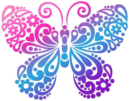 tattoo butterfly: Ornato Farfalla Swirly Silhouette Tattoo illustrazione vettoriale Design Element Vettoriali