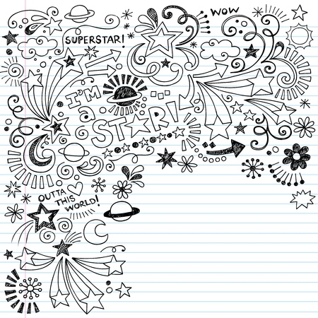 doodle art clipart: Hand-Drawn Superstar Scribble Inky Doodles- Back to School Notebook Doodle Design Elements on Lined Sketchbook Paper Vector Illustration Illustration