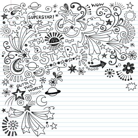 Hand-Drawn Superstar Scribble Inky Doodles-Terug naar school Notebook Doodle Design Elementen op Gevoerde Schetsboek Paper Vector Illustratie Stock Illustratie