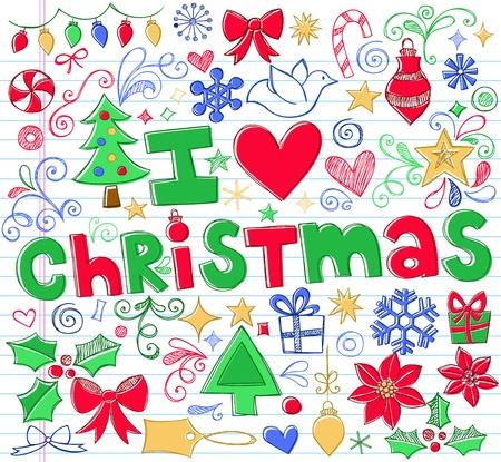 flor de pascua: Dibujado a mano Amo Doodles-Vector Navidad Sketchy Notebook Elementos de dise�o Ilustraci�n en el fondo forrado de papel Sketchbook