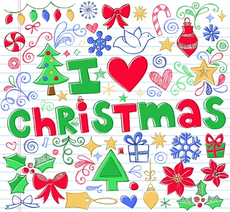 Hand-Drawn I Love Christmas Sketchy Notebook Doodles- Vector Illustration Design Elements on Lined Sketchbook Paper Background Vector