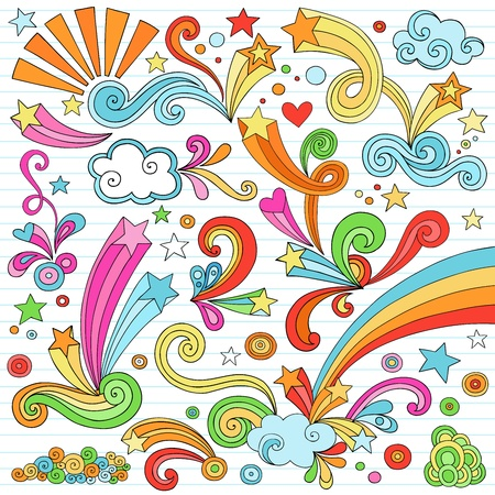 Hand-Drawn Psychedelic Groovy Notebook Doodle Design Elements Set on Lined Sketchbook Paper Background- Vector Illustration Vector