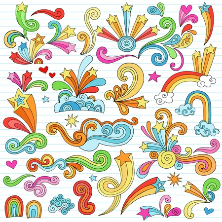 Hand-Drawn Psychedelic Groovy Notebook Doodle Design Elements Set on Lined Sketchbook Paper Background- Vector Illustration Vector