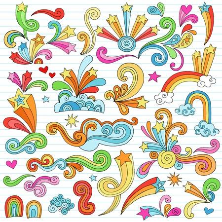Hand-Drawn Psychedelic Groovy Notebook Doodle Design Elements Set on Lined Sketchbook Paper Background- Vector Illustration