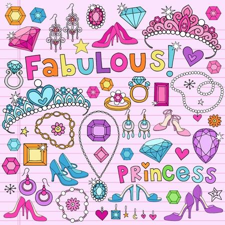 queen diamonds: Hand-Drawn Moda Fabulous Princess Notebook Elementi di design Doodle Set su Pink Lined Paper Sketchbook Background-Vector Illustration