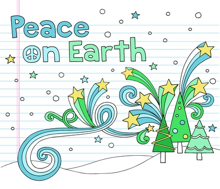 Peace on Earth Christmas Tree Notebook Doodles with Stars and Swirls- Hand-Drawn Vector Illustration Design Elements on Lined Sketchbook Paper Background Vector