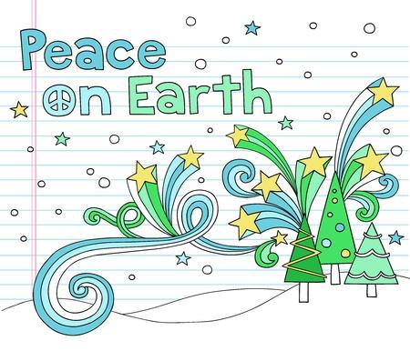 Vrede op Aarde Christmas Tree Notebook Doodles met sterren en Wervelingen-Hand-Drawn Vector Illustratie Ontwerp Elementen op Gevoerde Sketchbook papier achtergrond