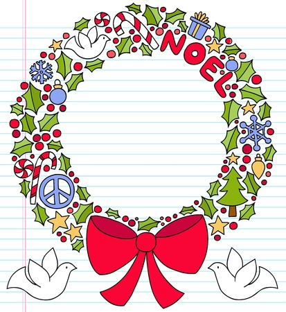 Hand-Drawn Christmas Holly Wreath Notebook Doodle Design Elements on Lined Sketchbook Paper Background- Vector Illustration Vector