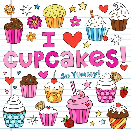 vanilla cupcake: Hand-Drawn Dessert Cupcakes Notebook Elementi di design Doodle Set su carta a righe Sketchbook Background-Vector Illustration